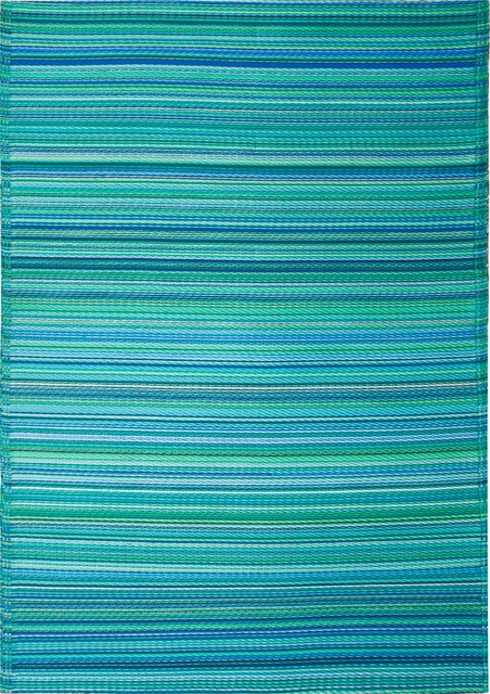 Indoor/Outdoor Cancun Rug, Turquoise & Moss Green, 4x6 tropical-outdoor-rugs