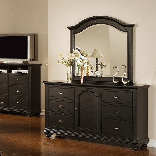 napa black dresser and mirror contemporary by. Black Bedroom Furniture Sets. Home Design Ideas
