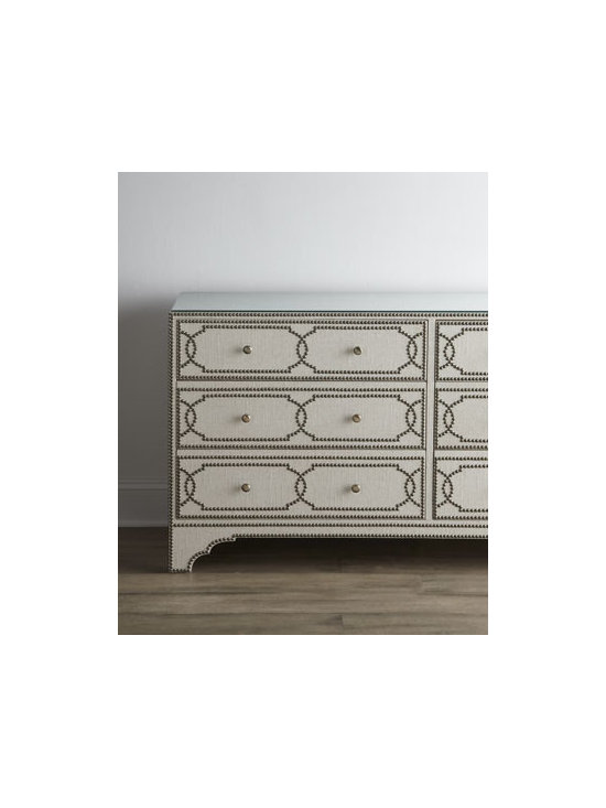 """Bernhardt - Bernhardt Magdalena Console - Talk about dramatic. This stunning console features linen-wrapped surfaces outlined and studded with nailhead trim. Made of select hardwoods. Clear lay-on glass with eased edge on top. Six drawers. 64.75""""W x 20.125""""D x 33.25""""T. Imported. Boxed wei..."""