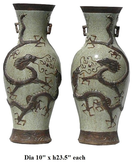 Pair Chinese Crackle Porcelain Double Dragons Vases asian vases