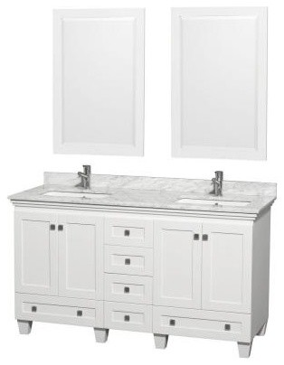 Wyndham Collection Acclaim 60 in. Double Bathroom Vanity in White with Marble Ba contemporary-bathroom-vanities-and-sink-consoles