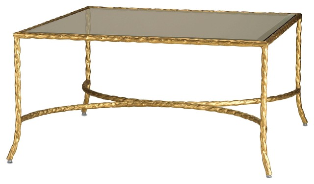 Currey & Co Gilt Twist Square Coffee Table traditional coffee tables