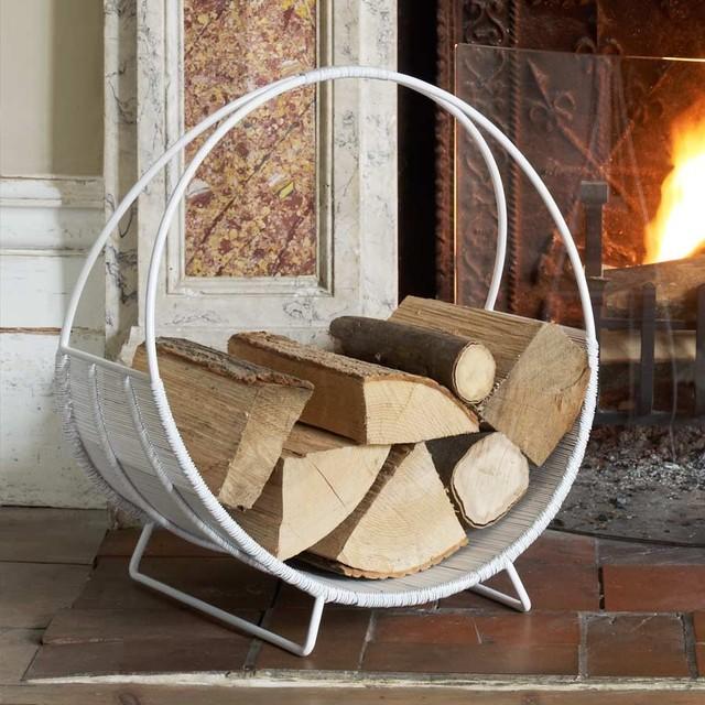 White Log Basket Modern Firewood Racks By Graham And Green