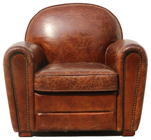 Pasargad Genuine Leather Paris Club Chair Contemporary