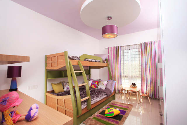 kids bunk bed & toy storage contemporary-kids