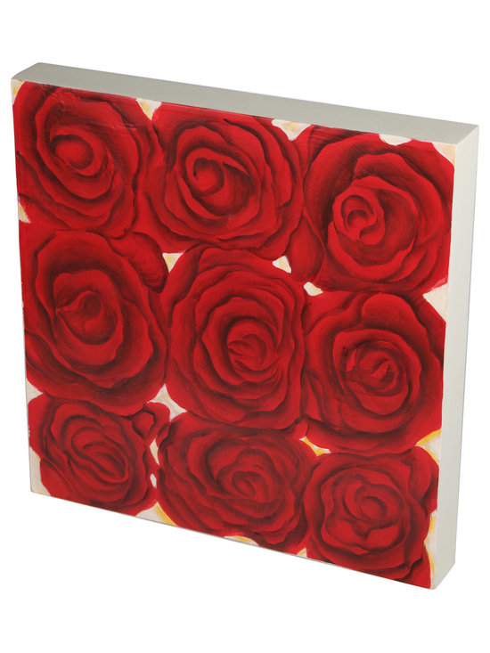 Brandi Renee Designs - Handpainted Nine Small Red Roses Wall Art, Wood Tile - This cute red rose square wall piece is perfect alone or with its companions or sculptural red roses in a wall grouping.