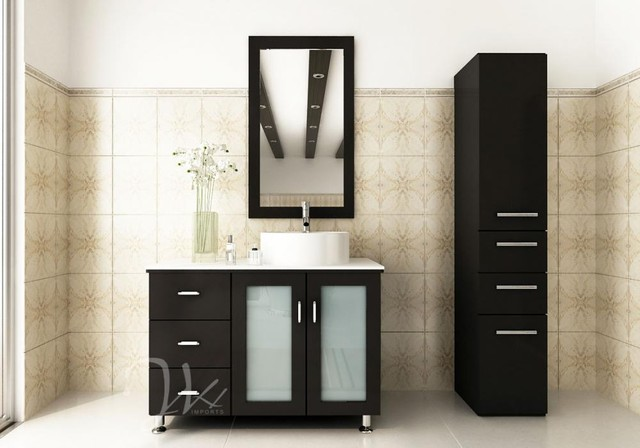 """39"""" Lune Single Sink Vanity With White Top and Bowl modern-bathroom-vanities-and-sink-consoles"""