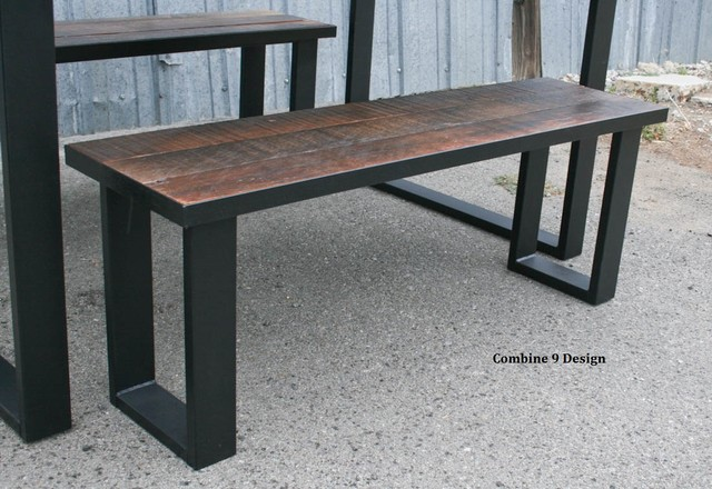 Dining Set Made Of Steel And Vintage Reclaimed Wood Urban Modern Table Chair