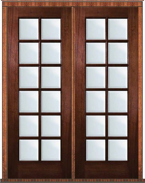Prehung French Double Door 96 Wood Mahogany Full Lite 12