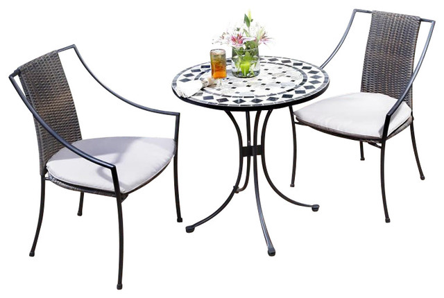Home styles marble bistro table 2 chairs in black gray for Small patio table and 4 chairs