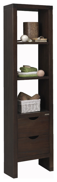Macral Nordico 15 and 3/4 inches. tall linen cabinet.Glazed walnut. contemporary-bathroom-cabinets-and-shelves
