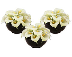 60015 Yin Yang Calla Arrangement, Set/3 by Uttermost modern indoor pots and planters