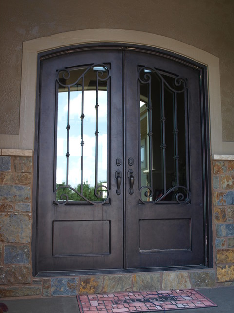 3 4 lite arch top double door front doors omaha by for Door design houzz