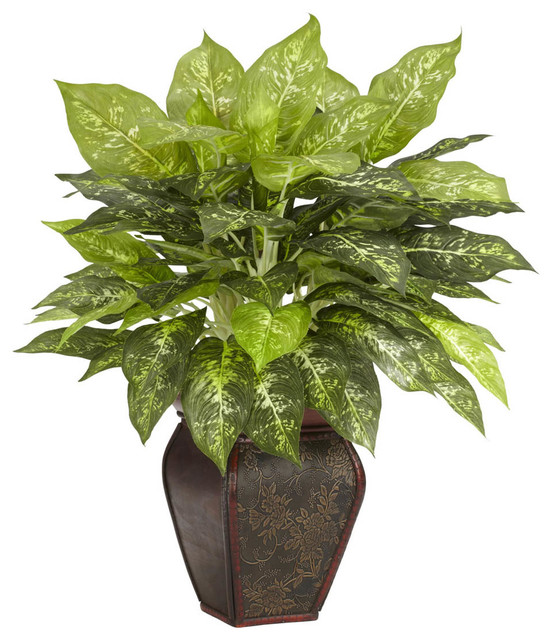 Dieffenbachia with decorative vase silk plant for Indoor decorative plants