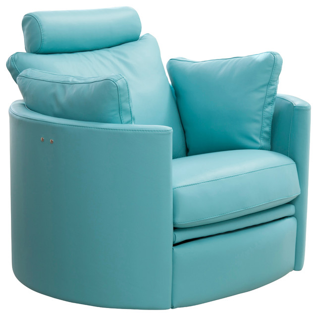 Rocking swivel powered recliner blue leather modern rocking chairs
