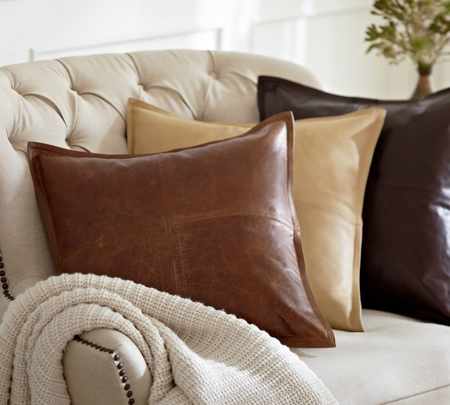 Decorative Pillows For Brown Leather Couch : Piced Leather Pillow Cover - Traditional - Decorative Pillows - other metro - by Pottery Barn