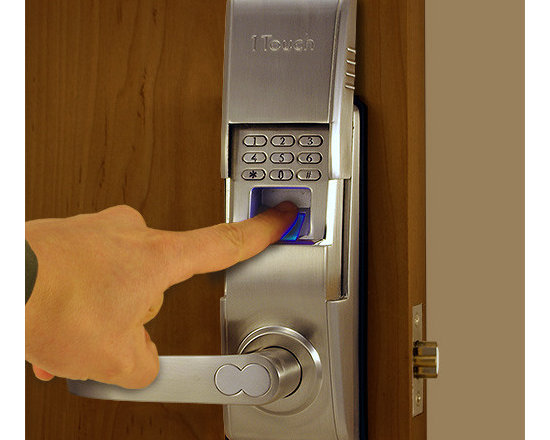 1TouchIQ2 Sleek Brushed Nickel Fingerprint Lock - Great for offices and homes the 1TouchIQ2 is very contemporary in design.