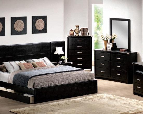Bedrooms Furniture - Transitional Pu Leather Master Bedroom Set