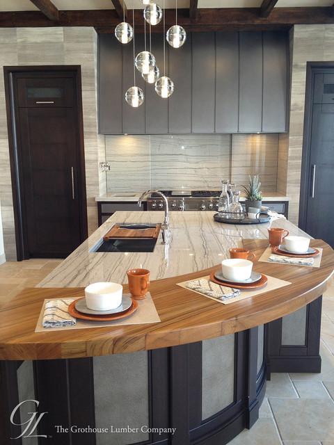 Custom Burmese Teak Wood Countertop In Denver Modern