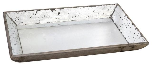 Large Rectangular Mirrored Tray traditional-storage-and-organization