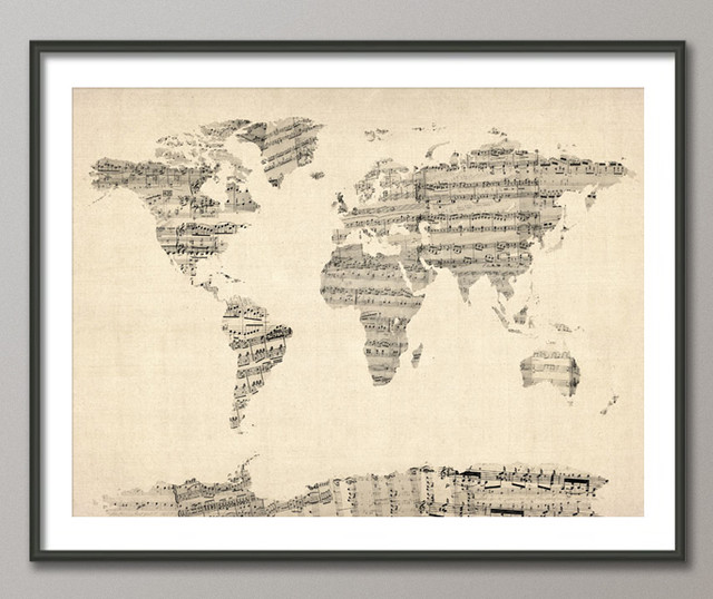 eclectic artwork Map of the World Map from Old Sheet Music, Art Print on Etsy
