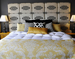 Gray and Yellow Master Bedroom eclectic bedroom