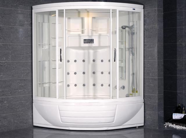AmeriSteam ZAA216 Steam Shower Unit With Whirlpool Bathtub Modern Steam S