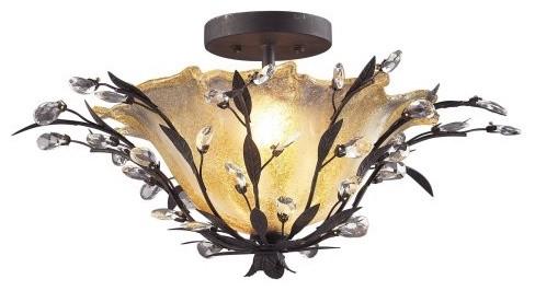 ELK Lighting Crystal Leaf Flush Mount - 24W in. eclectic-ceiling-lighting