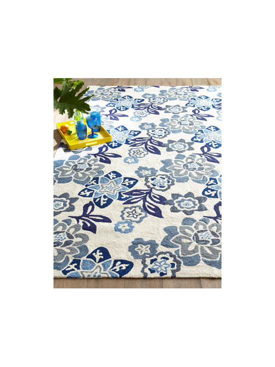 "Horchow - ""Mayflower"" Indoor/Outdoor Rug - No matter the season, this exuberant rug lets you carpet the floor with an elaborate field of flowers. Made of polypropylene/acrylic blend. Ideal for high traffic areas. Outdoor safe. Sizes are approximate. Imported. See our Rug Guide for tips..."