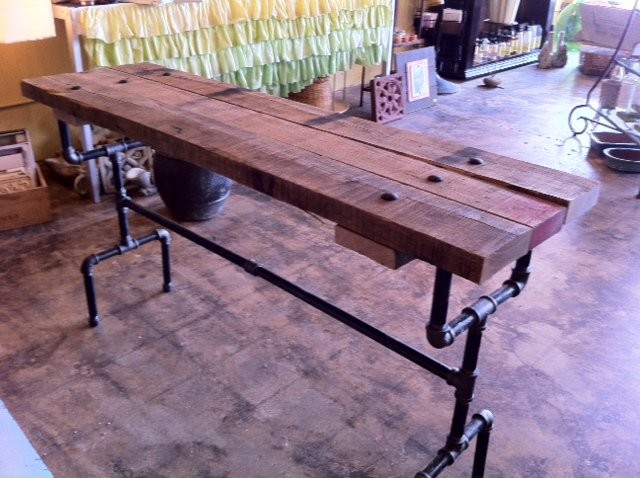 Reclaimed wood & pipe console table industrial-side-tables-and-end ...