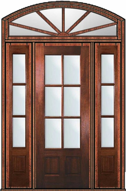 Prehung French Sidelights Transom Door 96 Mahogany 3 4 Lite 6 Lite Traditional Patio Doors