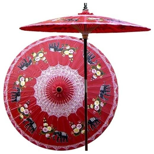 Asian Elephants Patio Umbrella in Dragon Red asian-outdoor-umbrellas