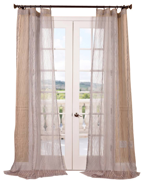 Piera Taupe Gray Patterned Sheer Curtain - Contemporary - Curtains ...