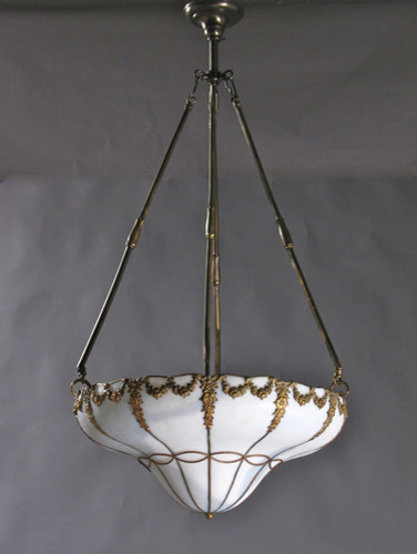 Circa 1910, Leaded Glass Inverted Dome with Floral Relief eclectic-ceiling-lighting