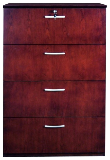 Mayline Napoli Collection 4 Wood File Storage Cabinet-Golden Cherry transitional-filing-cabinets