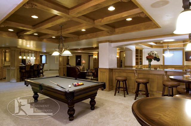 basement pool table bar traditional basement denver by