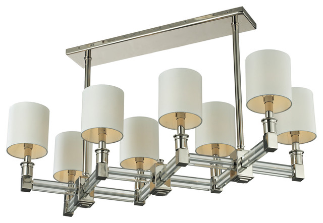 EL-83021/8 Berwick 8-Light Steel and Crystal Pendant in Nickel with Shade contemporary-pendant-lighting
