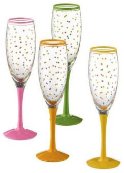 Citrus Polka Dot Champagne Flutes contemporary-everyday-glassware