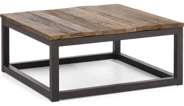 Reclaimed wood coffee table Zuo Era Civic Center Square Coffee Table Distressed rustic-coffee-tables
