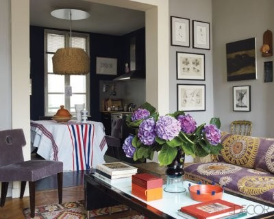 eclectic living room grey and purple