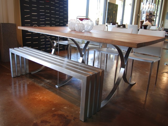Linear Stainless Steel Bench | Sarabi Studio Austin, TX modern dining chairs and benches