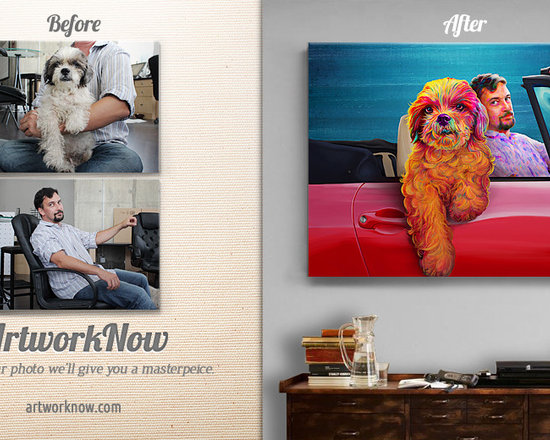 Sunday Drive - Send us your photo- we'll create a masterpiece.  Send us separate photos of you and your pet.   Our artists will paint them in vivid and surreal colors pushing the boundaries in expressionism in Pop art.  Available  on museum-quality paper (giclee) or canvas.
