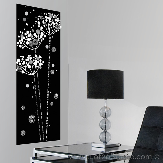 Black & White Floral Wall Decal Banner