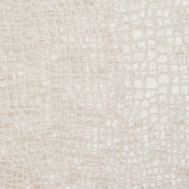 Off White Alligator Print Shiny Woven Velvet Upholstery
