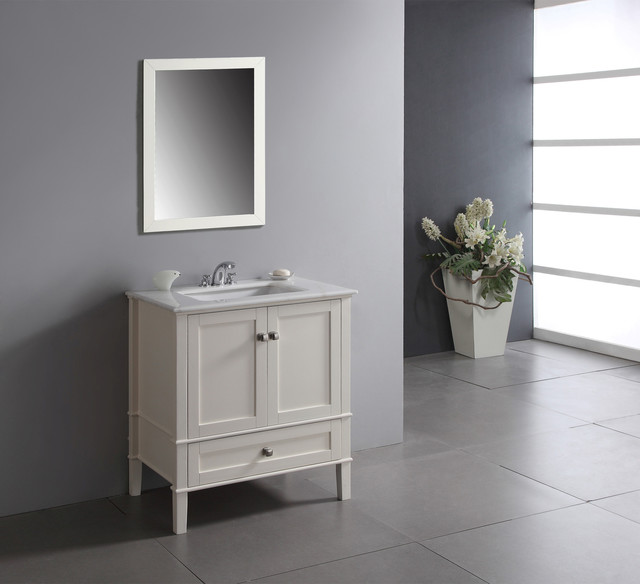 Windham Soft White 30 Inch Bath Vanity With 2 Doors Bottom Drawer And White