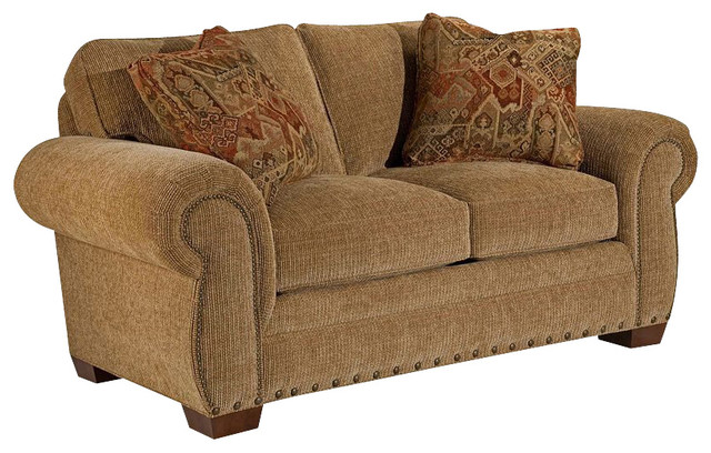 Broyhill Cambridge Two Seat Loveseat with Attic Heirlooms Wood Stain transitional-loveseats
