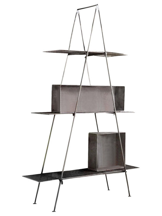 Lamia Tall Shelf - The Lamia Very Tall Shelf is more then 6-1/2-feet tall - why else would we call it very tall?  Equally at home indoor or outdoor, making it perfect for greenhouses.  The three durable mesh shelves are very sturdy and conveniently very rarely need dusting.  The frame folds easily and is secured with a lockable latch while in use.  Each shelf hooks to secure position.
