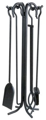 Panacea 5 pc. Wrought Iron Toolset - Black modern-fireplaces