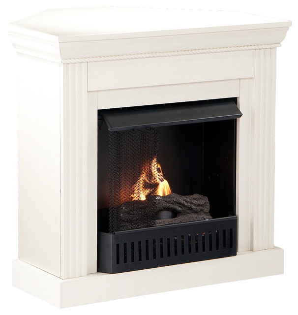 Bastrop Petite Convertible Fireplace, Ivory, Gel traditional-fireplaces