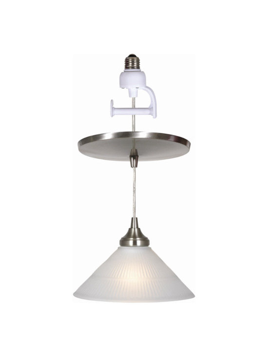 Ribbed pyramid glass shade with universal lampcup in brush nickel finish. - PKN-4110